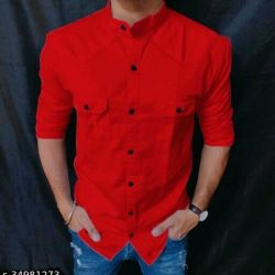 Majestic Cotton Shirt For Men Red