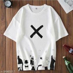 Fashion Globe Best Selling Printed Half Sleeves T Shirt for Man White X