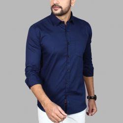 Men's Premium Cotton Casual Full Sleeve Shirt Blue
