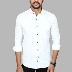 Men's Premium Cotton Casual Full Sleeve Shirt White