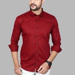Men's Premium Cotton Casual Full Sleeve Shirt Red