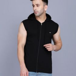 Men's Casual Hooded T Shirt Black