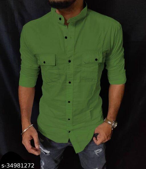 Majestic Cotton Shirt For Men Green
