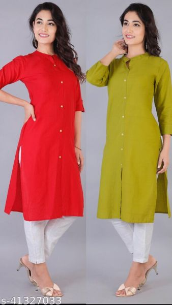 Trendy Cotton Kurtis Combo 2 Color (Red)