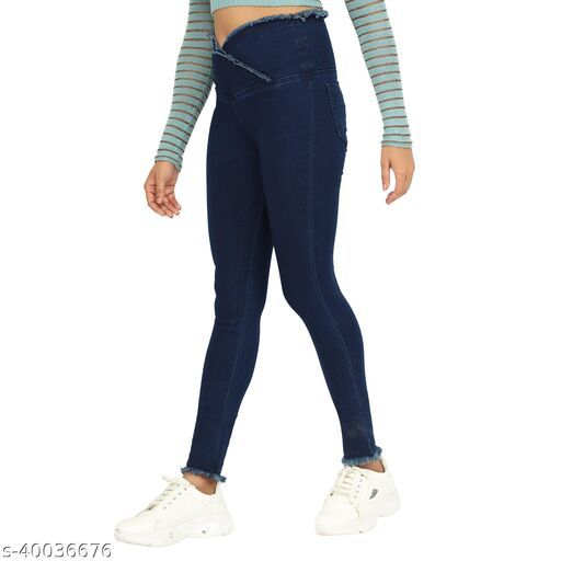 Fancy Feminine Women Jeans Blue