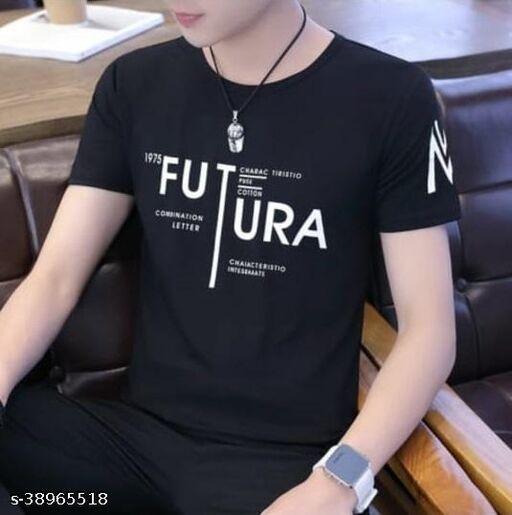 Fashion Globe Best Selling Printed Half Sleeves T Shirt for Man Black