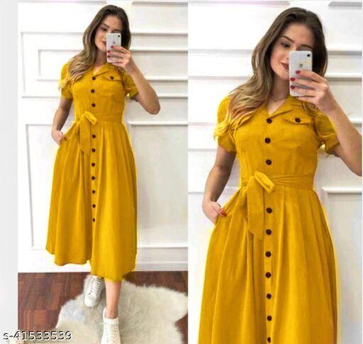 Classic Fabulous Women Dresses Yellow