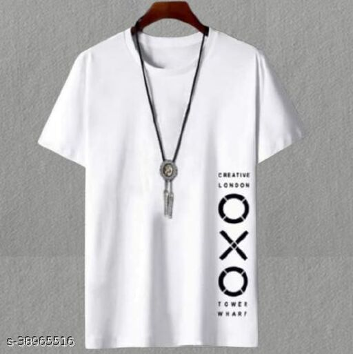 Fashion Globe Best Selling Printed Half Sleeves T Shirt for Man White OXO