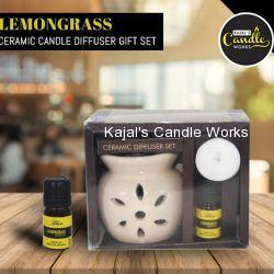 Lemongrass Ceramic Candle Diffuser Gift Set