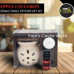 Apple Cinnamon Ceramic Candle Diffuser Gift Set