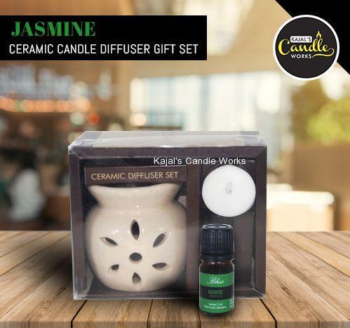 Jasmine Ceramic Candle Diffuser Gift Set
