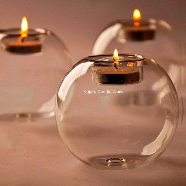 3 in. x 4 in. Clear Glass Sphere Ball Tea Light Candle Holders