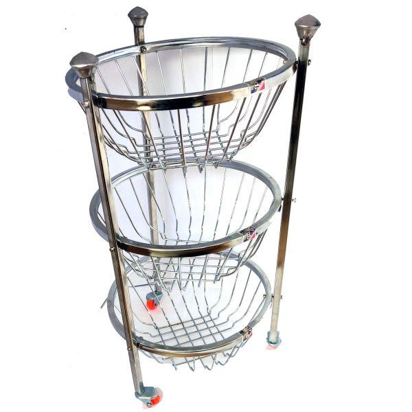 Vaishvi 3 Layer Fruit and Vegetables Storage Round Basket Assambled with Wheels for Kitchen  - Stainless Steel