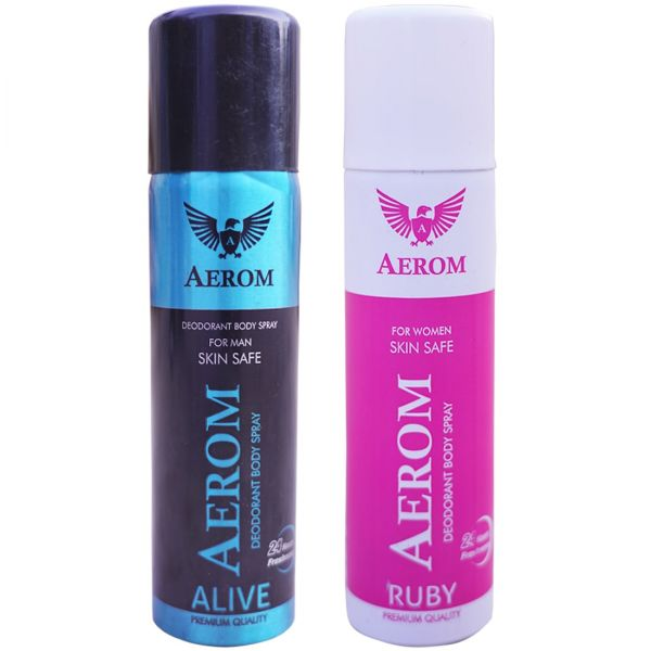 Aerom Alive and Ruby Deodorant Body Spray For Men and Women, 300 ml (P