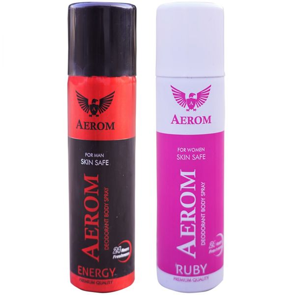 Aerom Energy and Ruby Deodorant Body Spray For Men and Women, 300 ml (