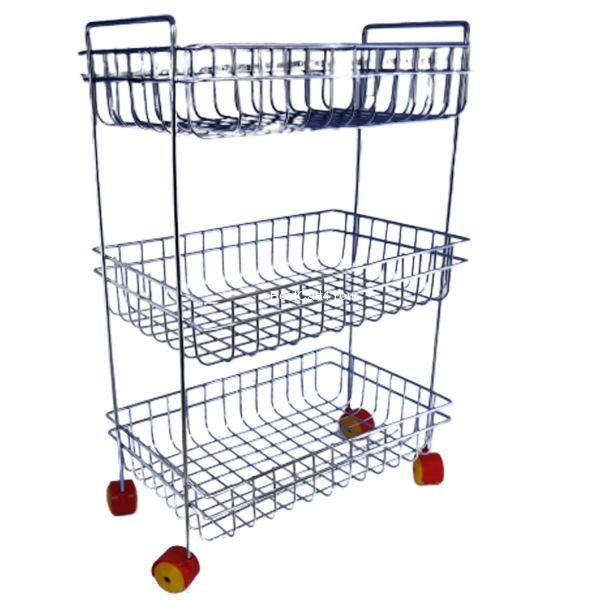 Vaishvi 3 Layer Fruit and Vegetables Storage Basket Fixed with Wheels for Kitchen  - Stainless Steel
