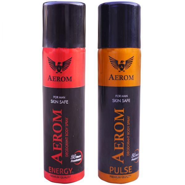 Aerom Energy and Pulse Deodorant Body Spray For Men, 300 ml (Pack of 2