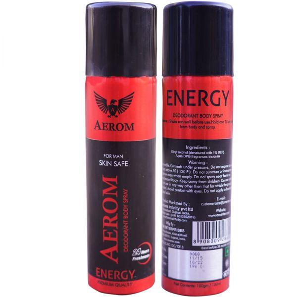 Aerom Energy Deodorant Body Spray For Men, 150 ml (Pack of 1)