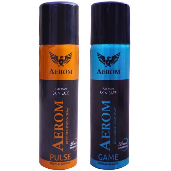 Aerom Pulse and Game Deodorant Body Spray For Men, 300 ml (Pack of 2)