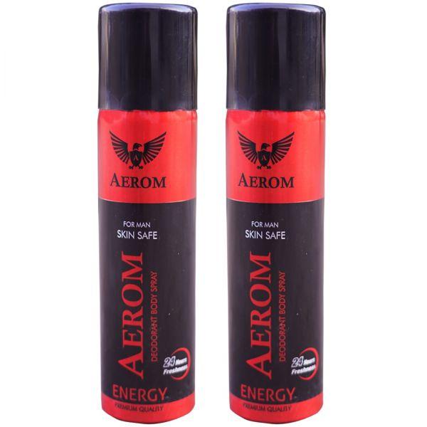 Aerom Energy and Energy Deodorant Body Spray For Men, 300 ml (Pack of