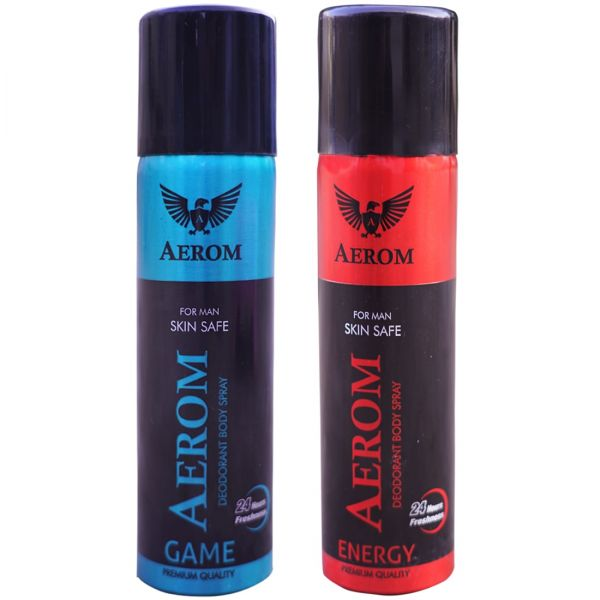 Aerom Game and Energy Deodorant Body Spray For Men, 300 ml (Pack of 2)