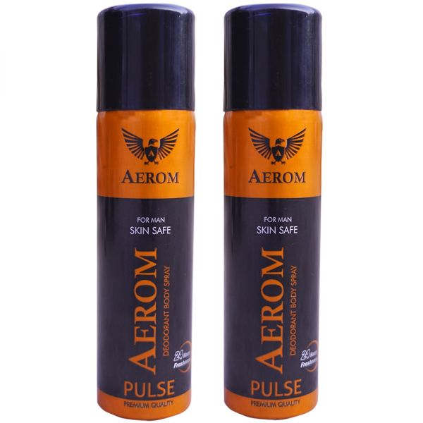 Aerom Pulse and Pulse Deodorant Body Spray For Men, 300 ml (Pack of 2)