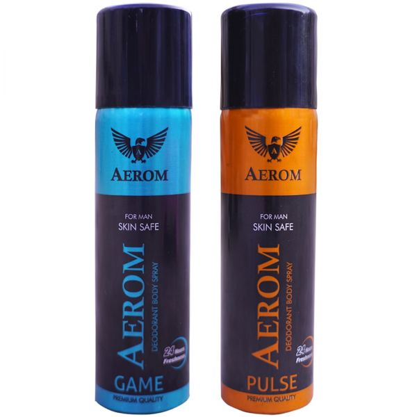 Aerom Game and Pulse Deodorant Body Spray For Men, 300 ml (Pack of 2)