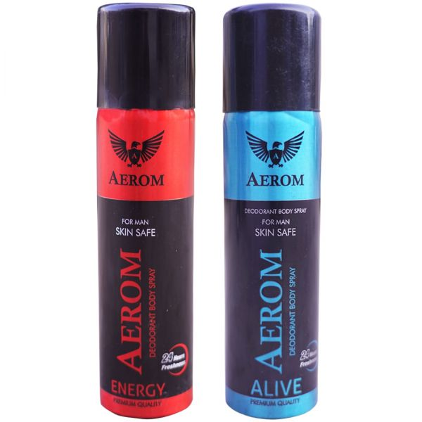 Aerom Energy and Alive Deodorant Body Spray For Men, 300 ml (Pack of 2
