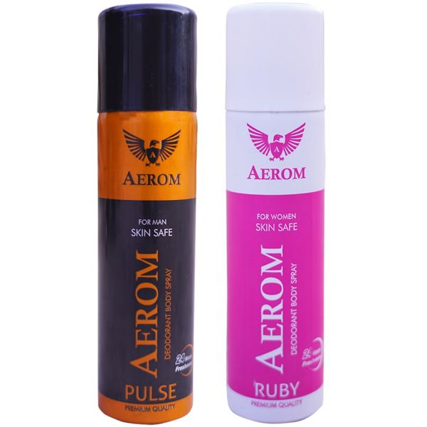 Aerom Pulse and Ruby Deodorant Body Spray For Men and Women, 300 ml (P