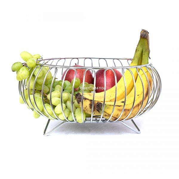 Vaishvi Heavy Stainless Steel Vegetable and Fruit Bowl Basket - Nickel Chrome Plated