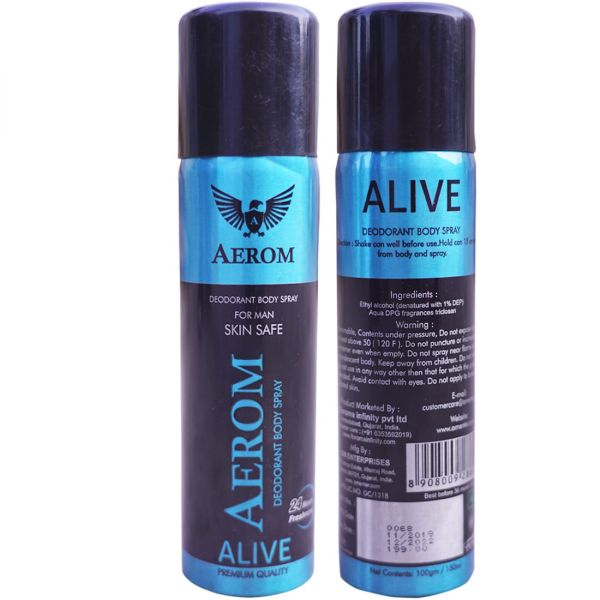 Aerom Alive Deodorant Body Spray For Men, 150 ml (Pack of 1)