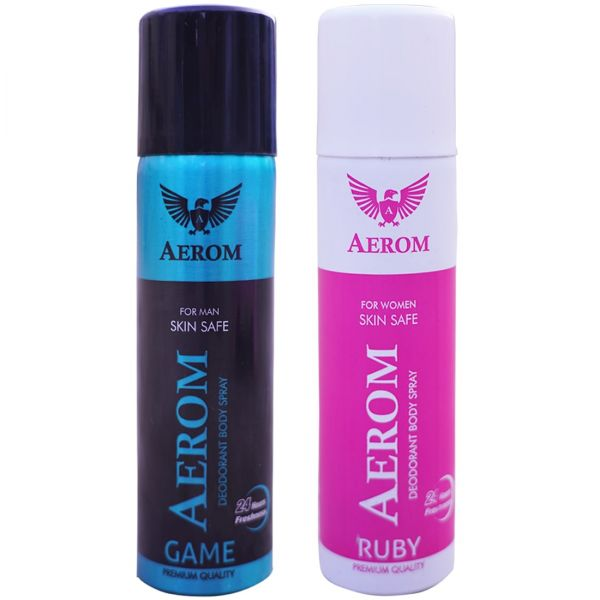 Aerom Game and Ruby Deodorant Body Spray For Men and Women, 300 ml (Pa
