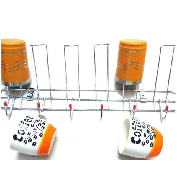 Vaishvi Stainless Steel Wall Mounting Glass and Cup Holder for Kitchen 6 Glass and 6 Cup Holder and Storage Organizer