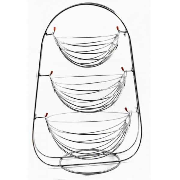 Vaishvi Stainless Steel 3 Tier Fruit and Vegetables Storage Basket for Kitchen (Silver, Standard)