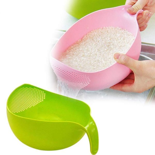 Kitchen Rice Bowl Plastic Fruit Bowl Thick Drain Basket with Handle Washing Basket for Home Kitchen Supplies High Quality