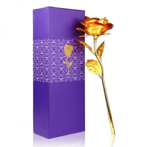 24K Artificial Golden Rose with Gift Box (10 inches)