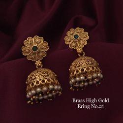 Brass high gold earrings