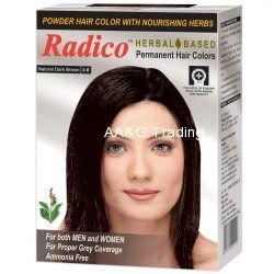 Radico HERBAL Certified Permanent Hair Color Powder With Nourishing Herbs (Dark Brown)