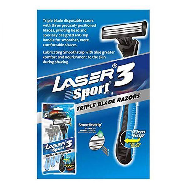 Laser Sport 3 Triple Blade Disposable Razor (Pack of 5)