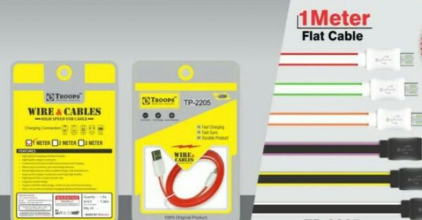 Rs 35 Per Pcs (Set of 5 Pcs) Troops Flat Charging Cable With 6 Month Warranty