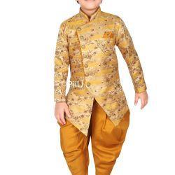 Golden sherwanu with dhoti