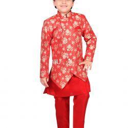 Red sherwani with dhoti pants