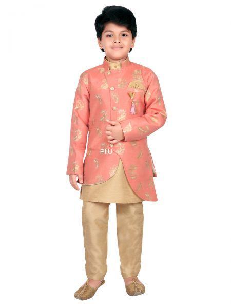 Self printed sherwani with pants