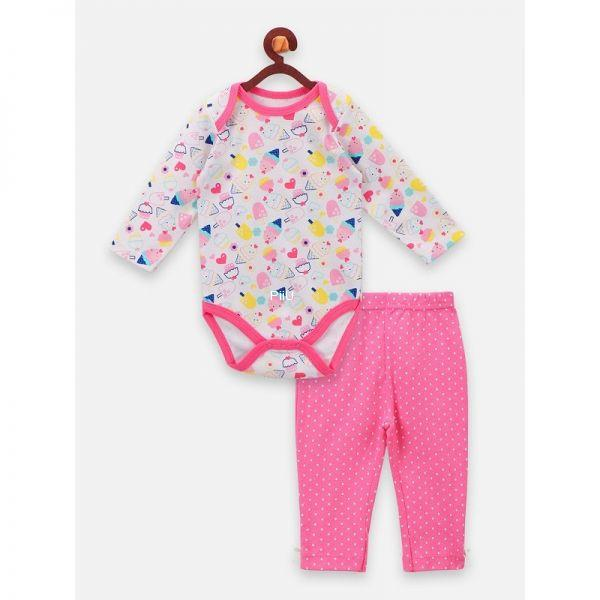 Soft cotton printed Romper with pants