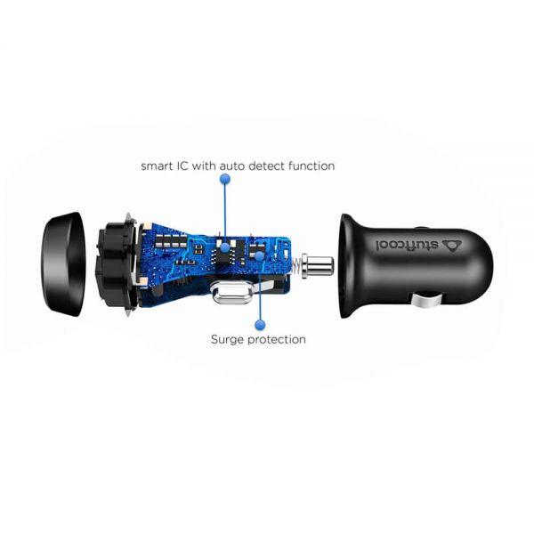 Stuffcool Atom 2-4A Dual USB Car Charger