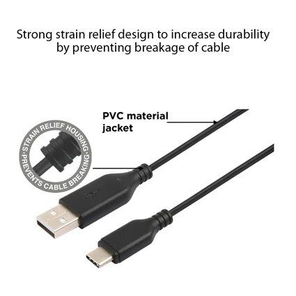 Stuffcool Force 3Amp Type C to USB A 20 Sync and Charge Cable 1M - Black