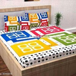 Jaipuri printed QUEEN SIZE WITH PILLOW COVER IN WHITE COLOR
