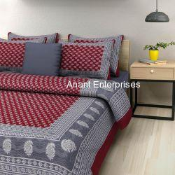 Jaipuri printed QUEEN SIZE WITH PILLOW COVER GREY WITH MAROON