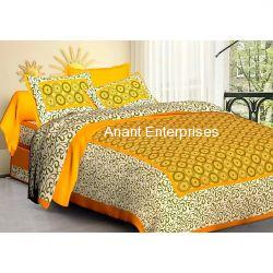 Jaipuri printed QUEEN SIZE WITH PILLOW COVER YELLOW