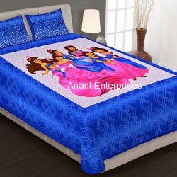Jaipuri printed QUEEN SIZE WITH PILLOW COVER BLUE